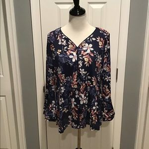Style & Co Navy Floral Shirt